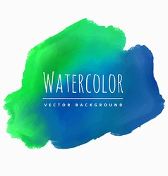 Watercolor blue green stain background vector