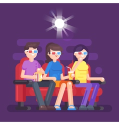 Flat style of people watching 3d movie vector