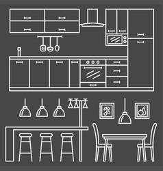 Kitchen modern furniture vector