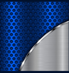 Blue metal perforated background with brushed vector
