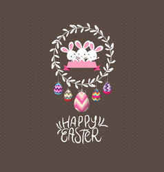 Easter eggs and bunny wreaths label greeting card vector