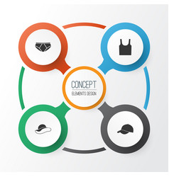 Garment icons set collection of trilby singlet vector