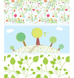 Spring banners with flowers trees leaves patterns vector image