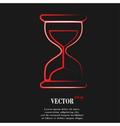 Sand clock glass timer  flat modern web button and vector