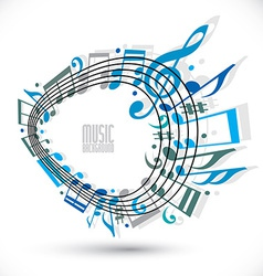 Blue music background with clef and notes music vector