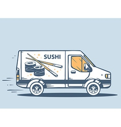 Van free and fast delivering sushi to cus vector