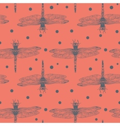 Seamless hand dawn pattern with dragonfly vector