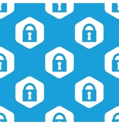 Closed padlock hexagon pattern vector