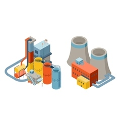 Industrial factory buildings 3d isometric flat vector