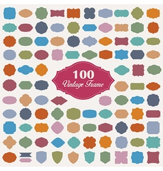 Set of 100 colourful vintage frame vector image