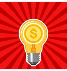 Business concept with light bulb and red rays vector