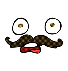 Comic cartoon mustache face vector