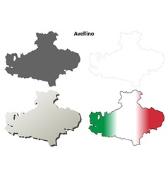 Avellino blank detailed outline map set vector