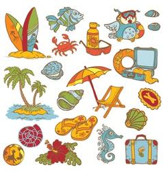 Seaside doodles vector