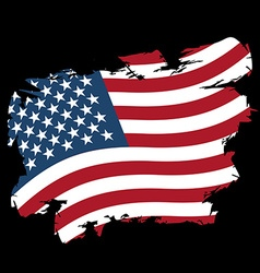 Usa flag grunge style on black background brush vector