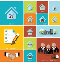 Business and real estate flat icon set vector