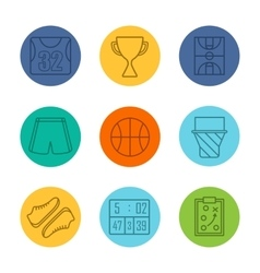 Basketball equipment icons vector