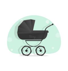 black baby stroller for boys isolated on white vector image