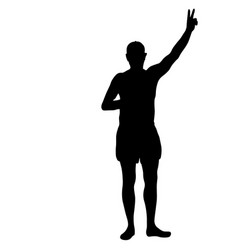 black silhouette man standing people on white vector image vector image