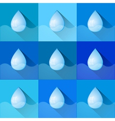 Blue Water Drops Symbols Set vector image
