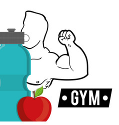 Bodybuilder fitness fruit water diet vector