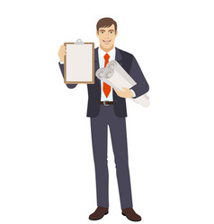 Businessman holding the project plans and vector