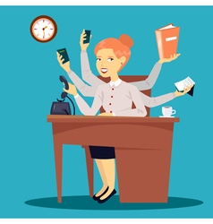 Businesswoman Multitasking Business Lady vector image vector image