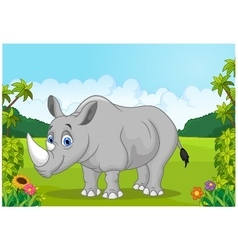 Cartoon happy rhinoceros in the jungle vector