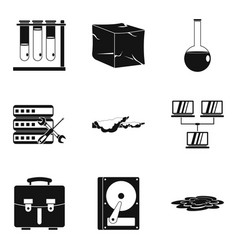 chemical industry icons set simple style vector image