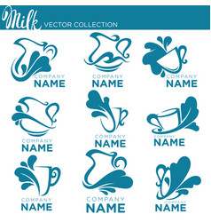 collection of fresh and natural milk emblems vector image