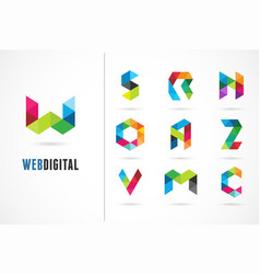 creative digital letter colorful icons logos vector image vector image