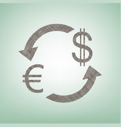 currency exchange sign euro and dollar vector image