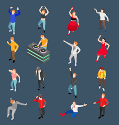 Dancing people isometric set vector