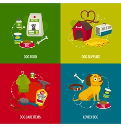 Dog care objects square compositions cartoon food vector