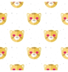 flat cartoon tiger in love seamless pattern vector image vector image