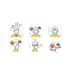 Flat design set of intuition insight vector