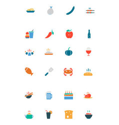 Food and drinks colored icons 15 vector