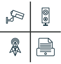 Gadget icons set collection of surveillance vector