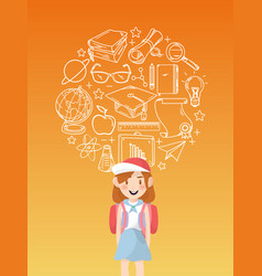 girl student with education icons vector image vector image
