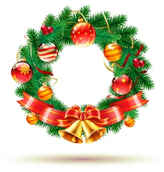 Green christmas wreath vector