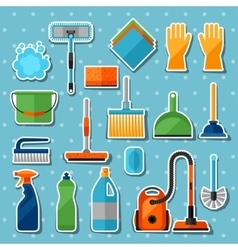 Housekeeping cleaning sticker icons set image can vector