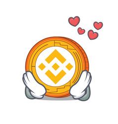 In love binance coin mascot catoon vector