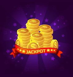 Jackpot winner background golden coins treasure vector