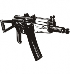 Machine gun aks74u vector