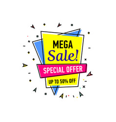 Mega sale sticker in trendy linear style vector