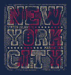 New york tee print with city streets vector