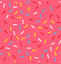 pink donut glaze with many decorative sprinkles vector image