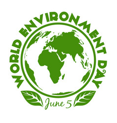 Round stamp for world environment day june 5 vector