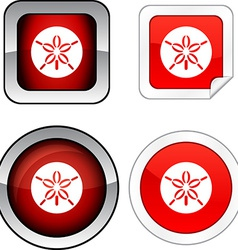 Sand dollar button set vector