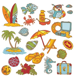 Seaside doodles vector image